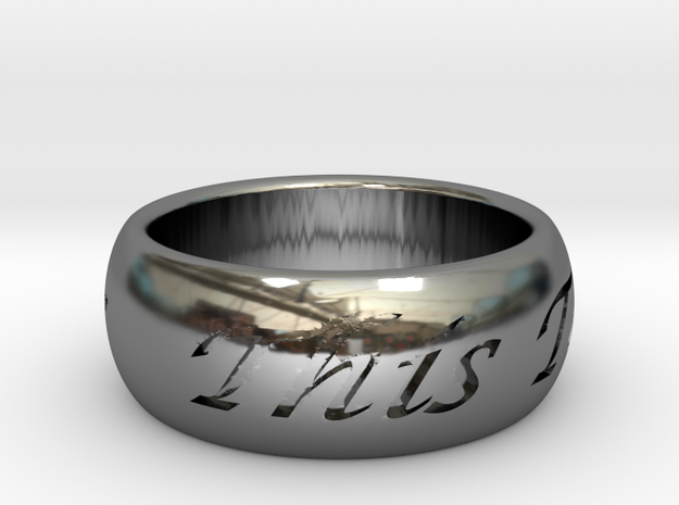 This Too Shall Pass, solid ring, custom size 3d printed