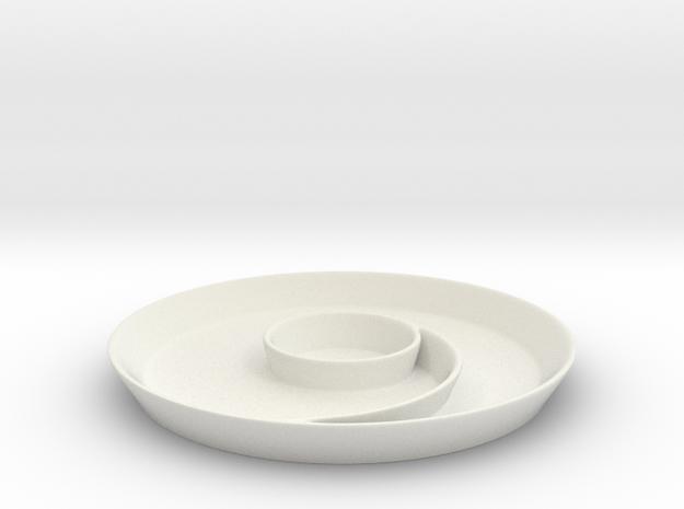 Spiral Main Dish in White Natural Versatile Plastic