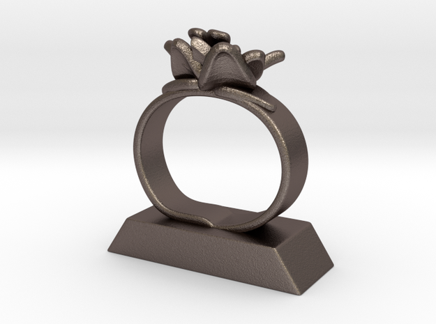 Lily Napkin Ring in Polished Bronzed Silver Steel