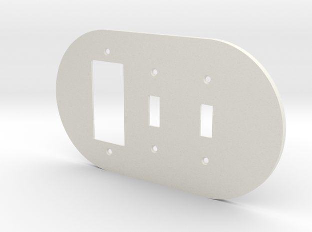 plodes® 3 Gang 2 Toggle Combo Wall Plate in White Strong & Flexible