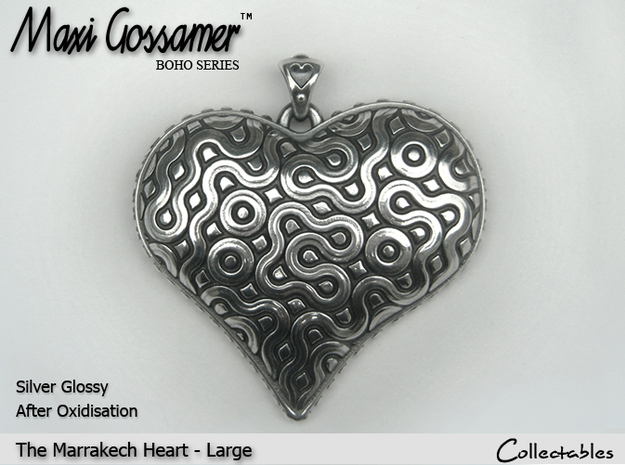 Marrakech Heart Pendant - Large 3d printed