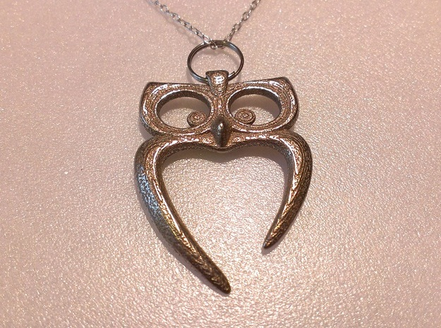 Owl Heart Pendant 3d printed Stainless Steel