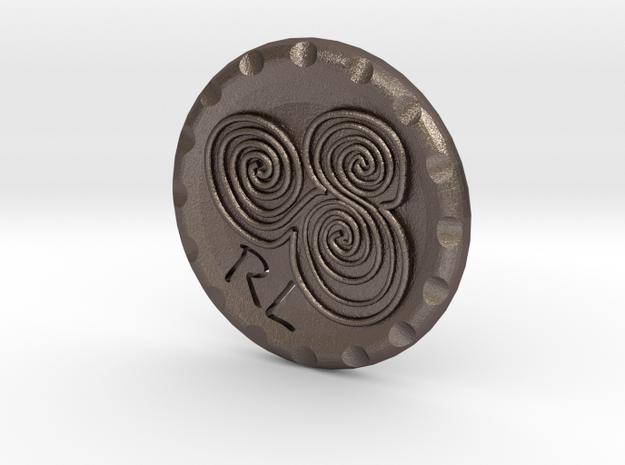 Golf Ball Marker Newgrange Spiral in Polished Bronzed Silver Steel