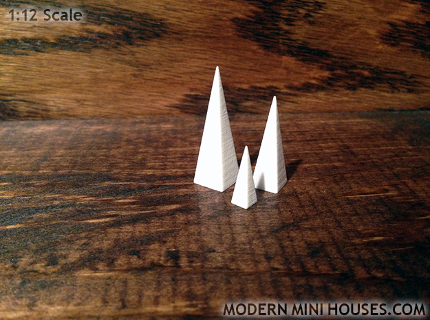 Triple Pyramids 1:12 scale decor in White Strong & Flexible Polished