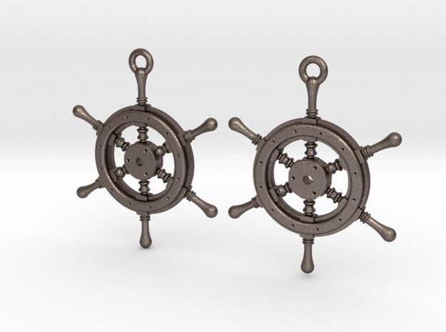 Ship wheel earrings in Polished Bronzed Silver Steel