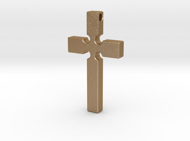 Monroe Cross in Matte Gold Steel