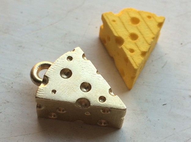 Swiss Cheese Pendant in Natural Brass