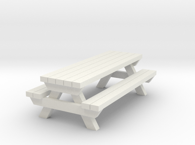 Picnic Table - Qty (1) HO 1:87 scale  in White Natural Versatile Plastic