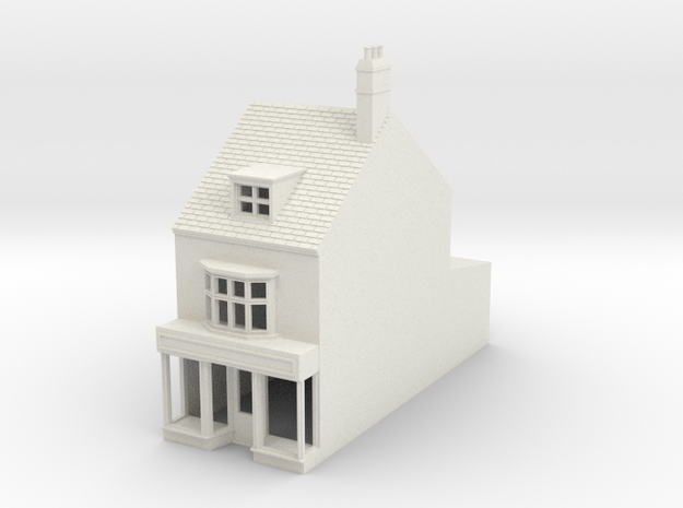 HHS-7 N Scale Honiton High street building 1:148 in White Natural Versatile Plastic