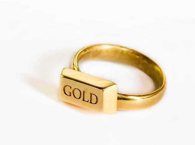 Gold Bar Ring in 18k Gold Plated Brass: 8 / 56.75