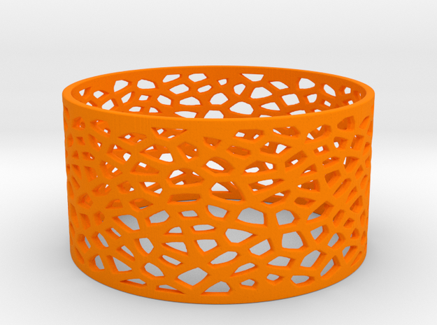 Voronoi Bracelet 78mm in Orange Processed Versatile Plastic