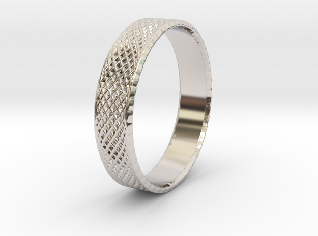 0101 Lissajous Figure Ring (Size9.5, 19.4mm) #002 in Rhodium Plated Brass