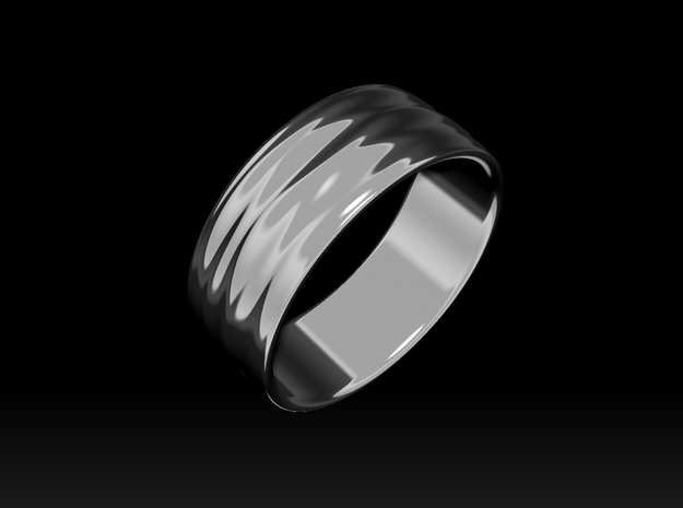 Ripple Ring No.2 in Rhodium Plated Brass
