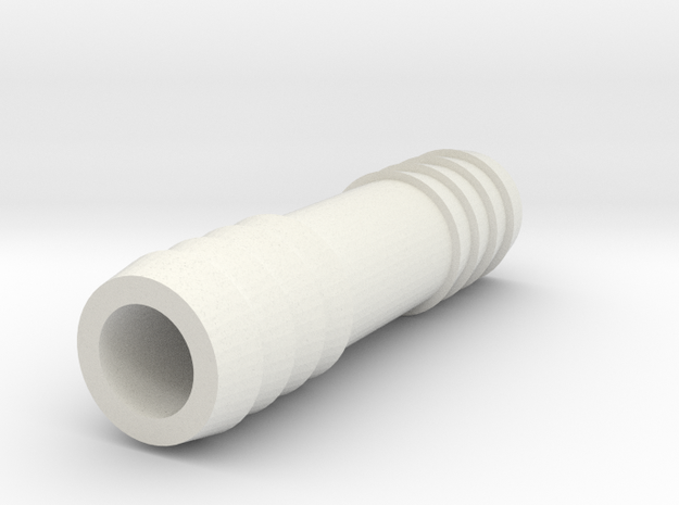 1/2 Inch Hose Barb in White Natural Versatile Plastic