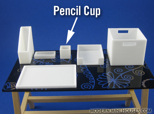 Office: Pencil Cup 1:12 scale in White Strong & Flexible Polished