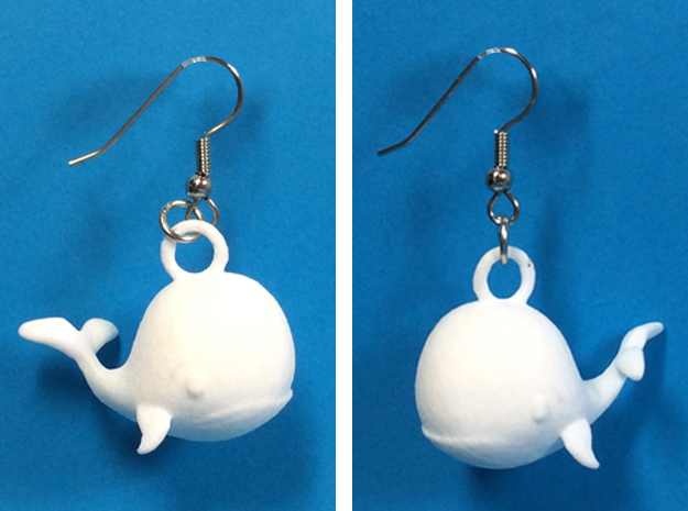 Whale Earrings in White Processed Versatile Plastic