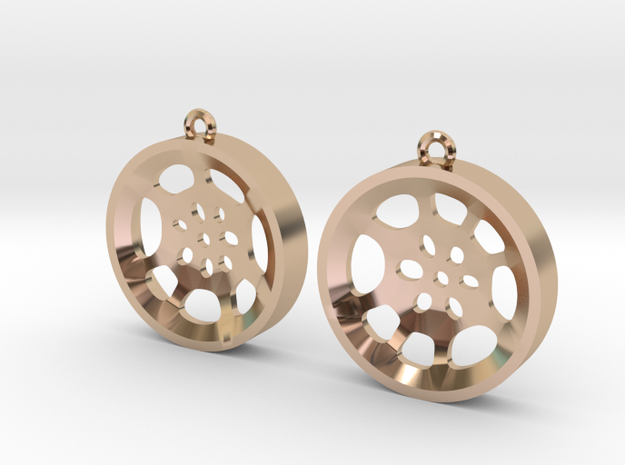 "Double Tenor ""void"" steelpan earrings, M in 14k Rose Gold Plated"