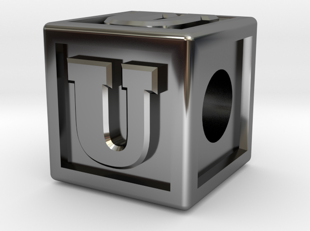 "Name Pieces; Letter ""U"" in Fine Detail Polished Silver"