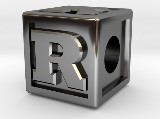 "Name Pieces; Letter ""R"" in Fine Detail Polished Silver"