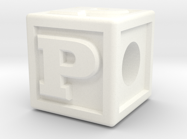 "Name Pieces; Letter ""P"" in White Processed Versatile Plastic"
