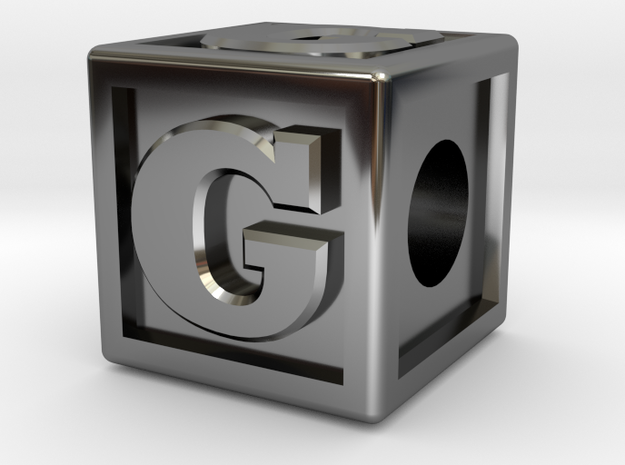 "Name Pieces; Letter ""G"" in Fine Detail Polished Silver"