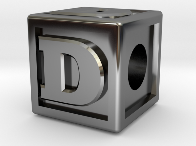 "Name Pieces; Letter ""D"" in Fine Detail Polished Silver"
