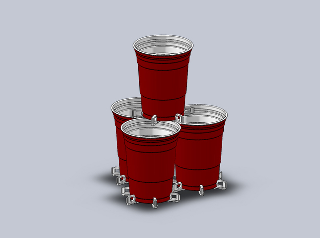 Beer Pong Cup Holder in White Natural Versatile Plastic