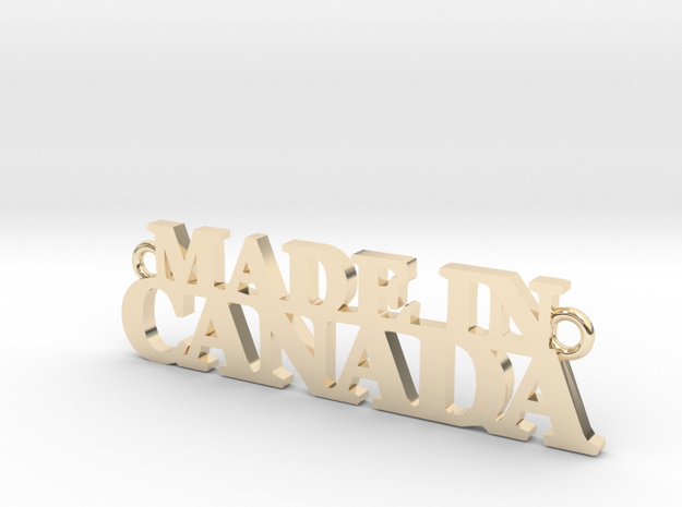 Made in CANADA Pendant 3d printed Gold Plated Brass (not anymore available) - chain not included- the pendant comes alone in a velvet puch