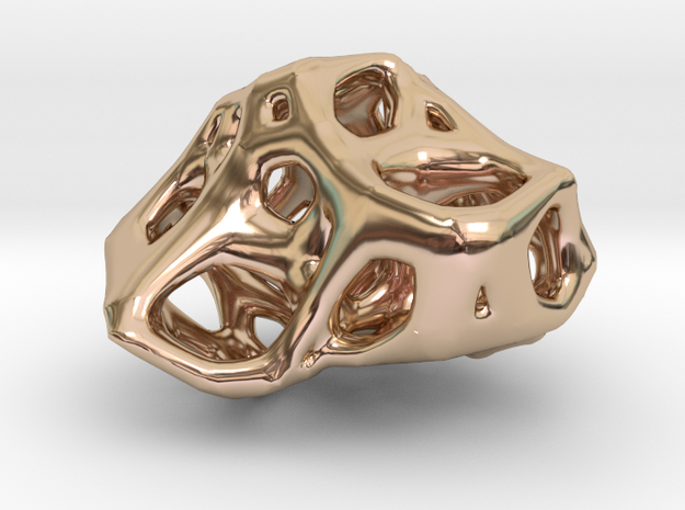 Organic Voronoi Pendent in 14k Rose Gold Plated Brass