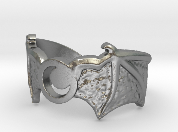 Crescent Wings Ring Size 7 in Raw Silver