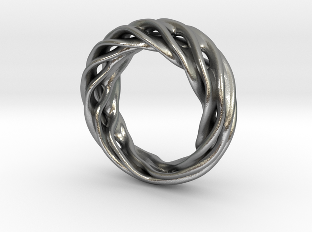 Fluid Wave Ring in Natural Silver