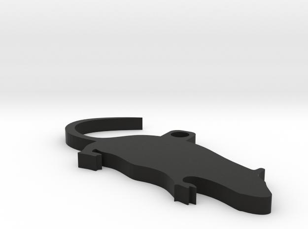 Cute Rat Keychain in Black Natural Versatile Plastic