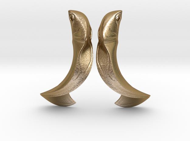 LeafEarringsPAir in Polished Gold Steel
