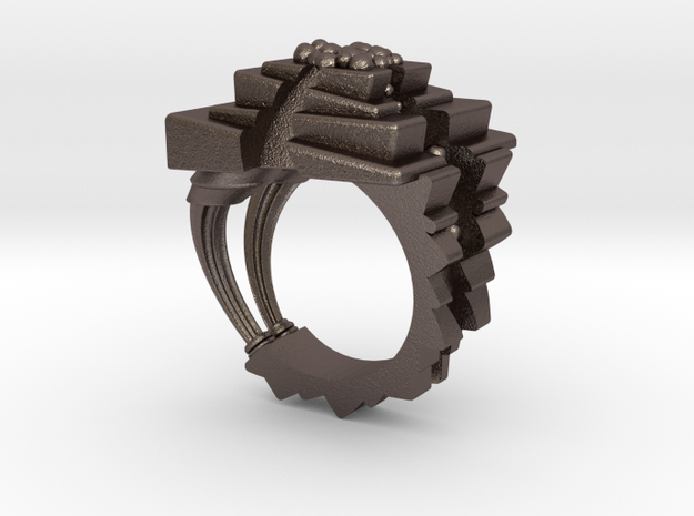 ArchitectureRing_Size7-7.5 in Polished Bronzed Silver Steel