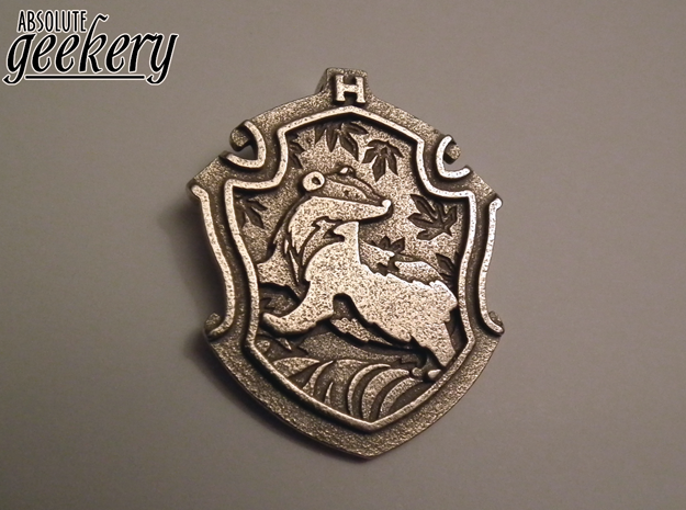 Hufflepuff House Crest - Pendant LARGE in Polished Bronzed Silver Steel