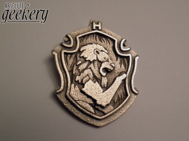 Gryffindor House Crest - Pendant LARGE in Polished Bronzed Silver Steel