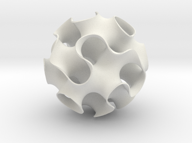 """Gyroid Sphere 3d printed gyroid sphere - 2.4"""" diameter shown in white strong and flexible plastic"""