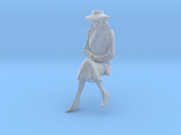 1:20 scale Girl Friday sitting wth hat in Smooth Fine Detail Plastic