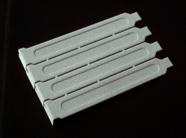 Computer Expansion Slot Cover Plates 3d printed pictured in the alumide material