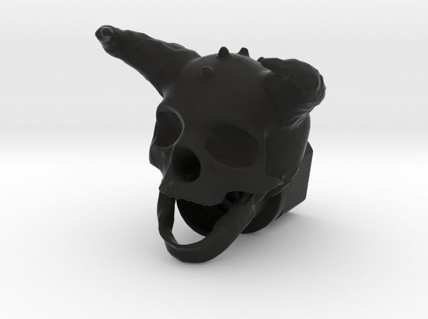 Horned Skull BarrelEnd 14 CCW in Black Natural Versatile Plastic