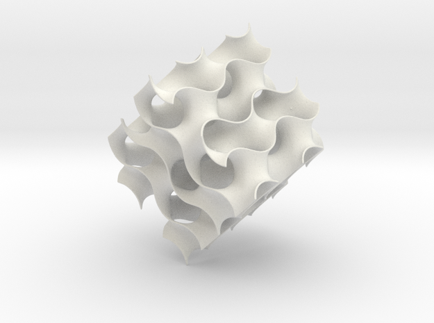 Gyroid cube - 8 unit cells 3d printed 8 cell gryoid in a large cube in white stong and flexible plastic