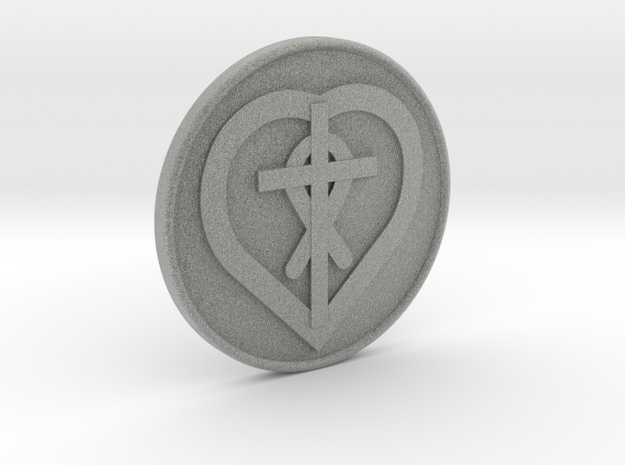 Christain Heart Cross Fish Coin 1 Inch in Metallic Plastic