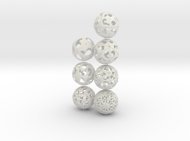 Comma symmetry spheres: 7 oddities in White Natural Versatile Plastic