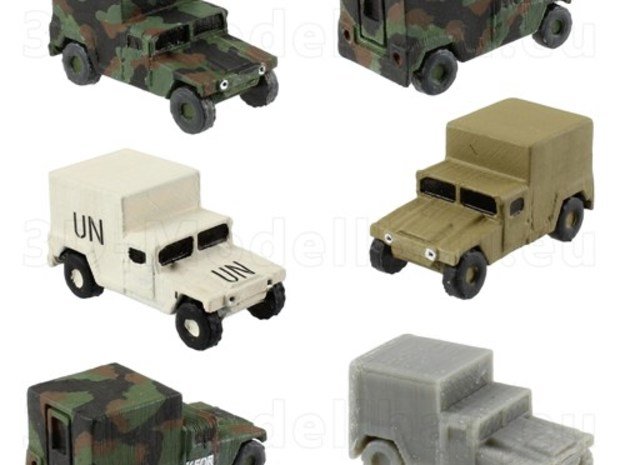 1/200 12mm scale US Army M1037 Humvee HMMWV Hummer in White Natural Versatile Plastic