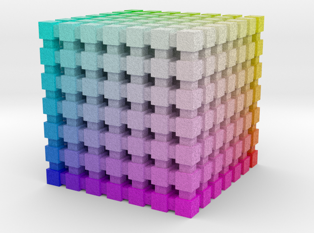 RGB Color Cube: 1 inch in Coated Full Color Sandstone