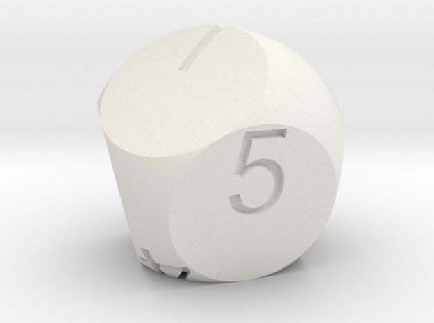 D7 2-fold Sphere Dice in White Natural Versatile Plastic