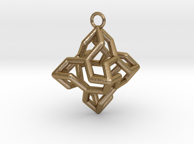 Platonic-3 in Polished Gold Steel