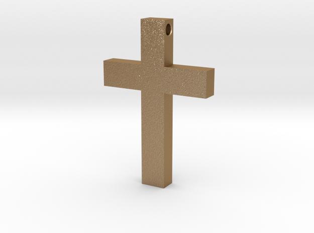 Latin Cross Pendant (Monroe Cross Variation) in Matte Gold Steel