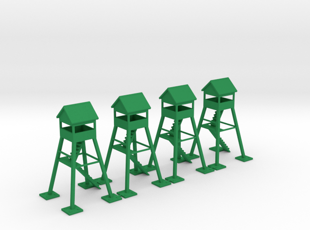 6mm Watch Tower (x4) in Green Processed Versatile Plastic