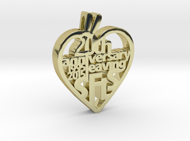 Leaving SFLS 20 Years Class Pendant in 18k Gold Plated Brass